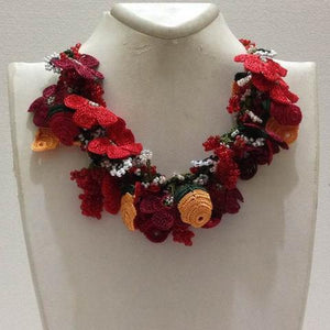 Red and Orange Bouquet Necklace with Red Grapes - Crochet OYA Lace Necklace