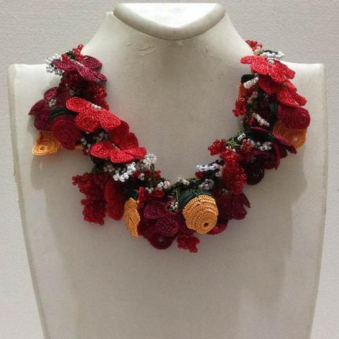 Red and Orange Bouquet Necklace with Red Grapes - Crochet crochet Lace Necklace