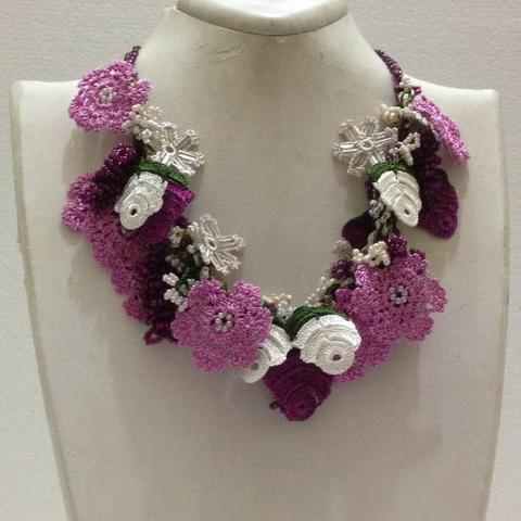 Lilac, Purple and White Bouquet Necklace - Crochet OYA Lace Necklace