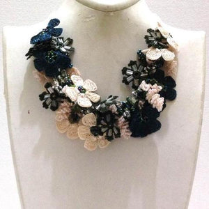 Beige White and Blue Bouquet Necklace - Crochet OYA Lace Necklace