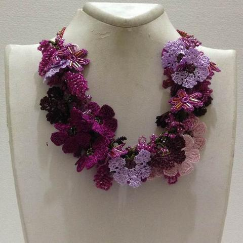 Lilac and Pink Bouquet Necklace with Pink Grapes - Crochet crochet Lace Necklace