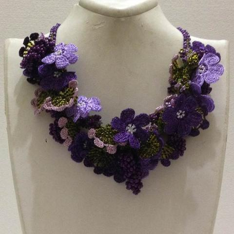 Lavender and Purple Bouquet Necklace with Purple Grapes - Crochet OYA Lace Necklace