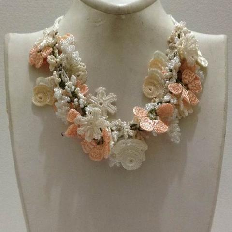 Peach and White Bouquet Necklace with White Grapes - Crochet OYA Lace Necklace