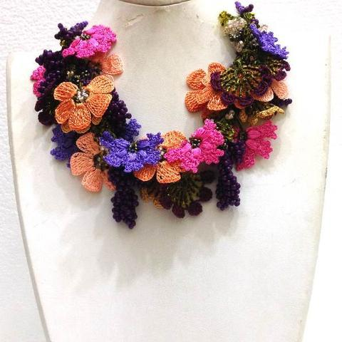 Pink,Orange,Lilac,Purple Bouquet Necklace - Crochet OYA Lace Necklace