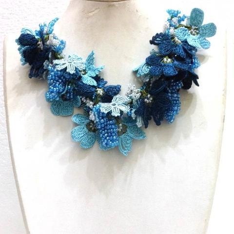 Blue and dark blue Bouquet Necklace - Crochet OYA Lace Necklace - butterfly