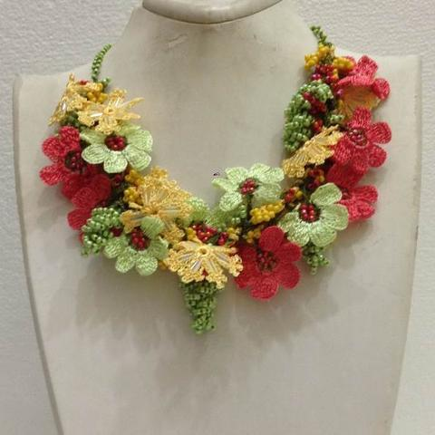 Pomagranate Pink, Green and Yellow Bouquet Necklace - Crochet crochet Lace Necklace