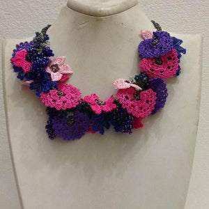 Hot Pink, Purple and Night Blue Bouquet Necklace - Crochet OYA Lace Necklace
