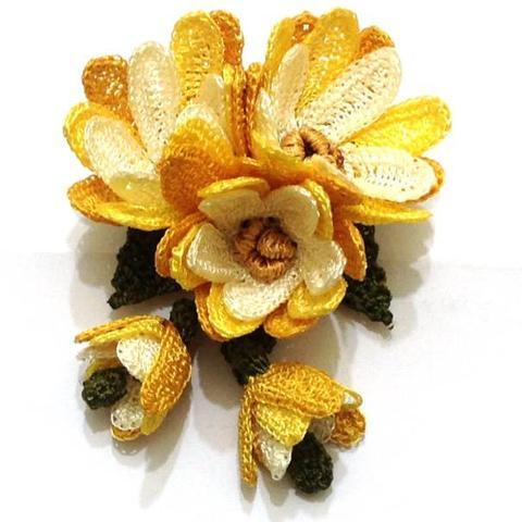 Yellow Hand Crocheted Brooch - 3D Flower Pin- Unique Turkish Lace - Brooches Jewelry - Fabric Flower Brooch