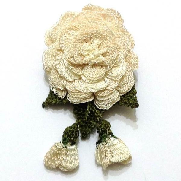 WHITE ROSE Hand Crocheted Brooch - Flower Pin- Unique Turkish Lace - Brooches Jewelry - Fabric Flower Brooch