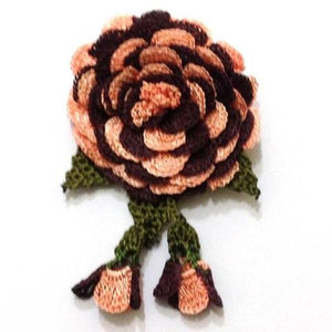 Salmon Pink and Brown Hand Crocheted Brooch - Flower Pin- Unique Turkish Lace - Brooches Jewelry - Fabric Flower Brooch