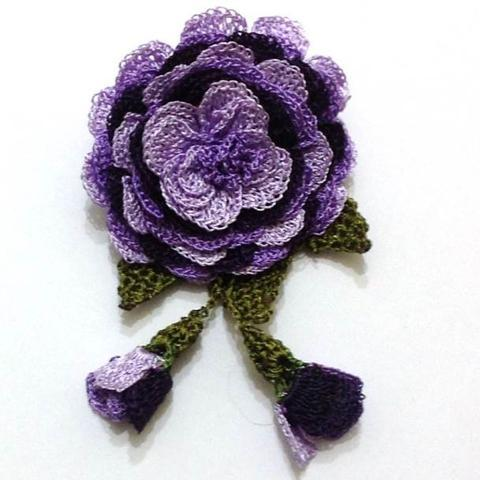 Lilac and Purple Hand Crocheted Brooch - Flower Pin- Unique Turkish Lace - Brooches Jewelry - Fabric Flower Brooch