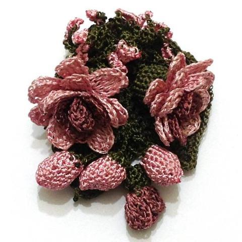 Pink Rose Hand Crocheted Brooch - Flower Pin- Unique Turkish Lace - Brooches Jewelry - Fabric Flower Brooch