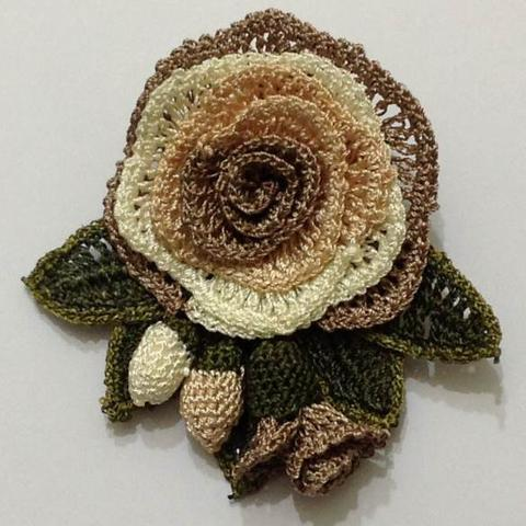 Brown Hand Crocheted Brooch - Flower Pin- Unique Turkish Lace - Brooches Jewelry - Fabric Flower Brooch