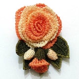 Orange Hand Crocheted Brooch - Flower Pin- Unique Turkish Lace - Brooches Jewelry - Fabric Flower Brooch