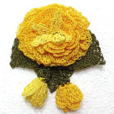 Yellow ROSE Hand Crocheted Brooch - Flower Pin- Unique Turkish Lace - Brooches Jewelry - Fabric Flower Brooch