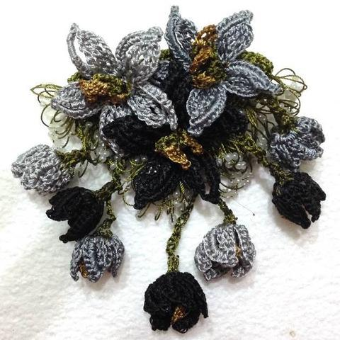 Black and Grey Hand Crochet Brooch - Flower Pin- Gift for Mom - Gift for Mother - Gift for Her - Unique Lace Brooches Jewelry - Fabric Flower Brooch