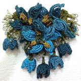 Teal and Blue Hand Crochet Brooch - Flower Pin- Gift for Mom - Gift for Mother - Gift for Her - Unique Lace Brooches Jewelry - Fabric Flower Brooch