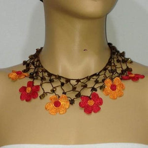 Orange and RED Choker Necklace with Crocheted flower and semi precious Tiger Eye Stones