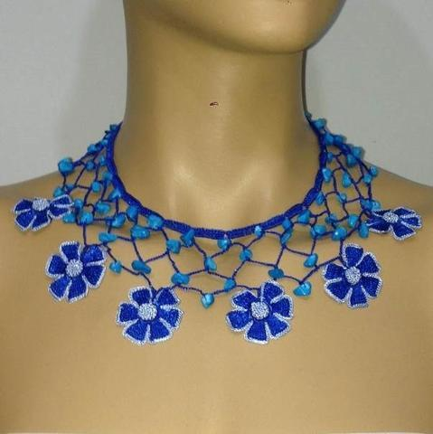 BLUE Choker Necklace with Crocheted flower and semi precious Turquoise Stones
