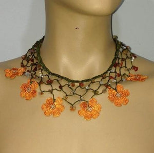 ORANGE Choker Necklace with Crocheted Flower and semi precious Agate Stones