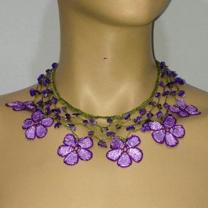LILAC and PURPLE Choker Necklace with Crocheted Flower and semi precious Stones