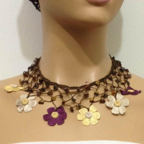 Yellow, Beige and Plum Purple Choker Necklace with Crocheted Flower and semi precious Tiger Eye Stones