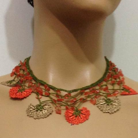Orange and Taupe Beige Choker Necklace with Crocheted Flower and semi precious orange Stones