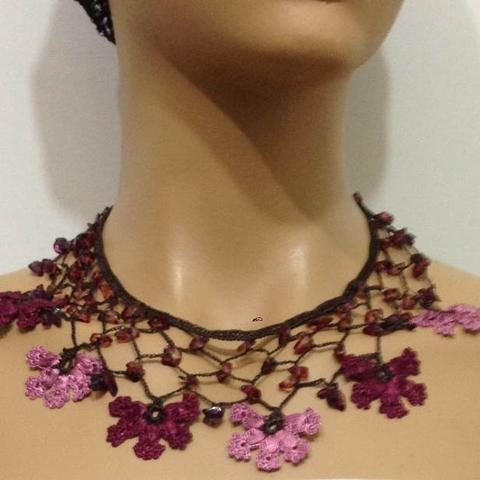 Plum and Pink Choker Necklace with Crocheted Flower and semi precious plum Stones