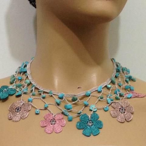 Turquoise, Rose Pink and Beige Choker Necklace with Crocheted Flower and semi precious Turquoise Stones