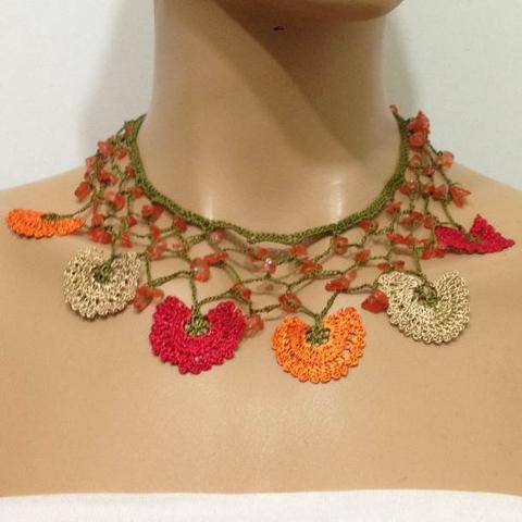 Red, Beige and Orange Choker Necklace with Crocheted Flower and semi precious Stones