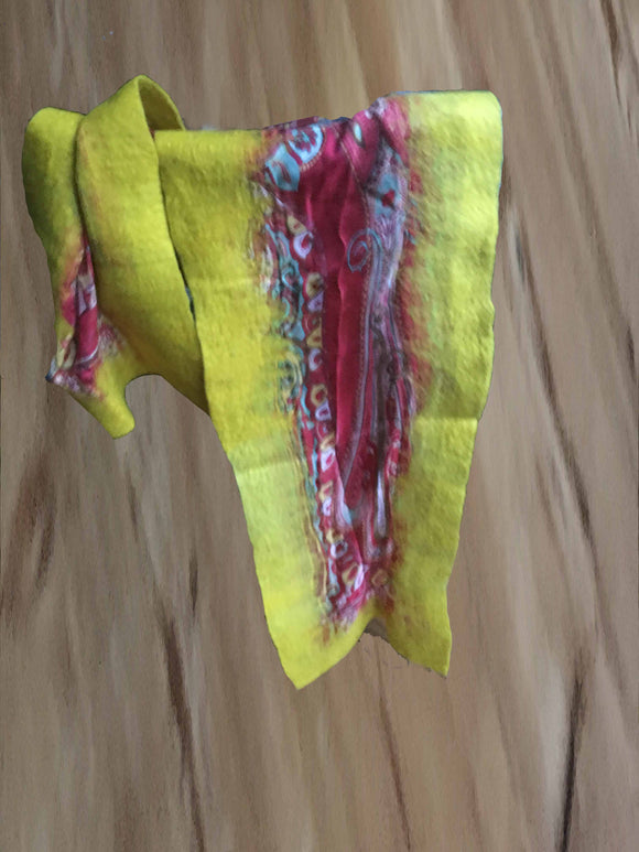 Handmade Yellow Felt-Silk Medium Scarves