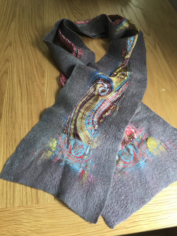 Handmade Grey Felt-Silk Medium Scarves
