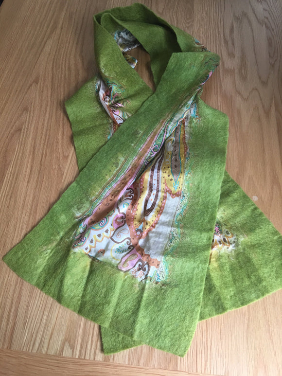 Handmade Green Felt-Silk Medium Scarves