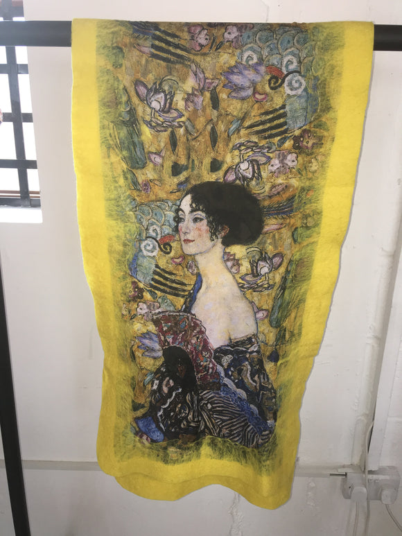 Felt Large Scarves Lady with Fan (Klimt)