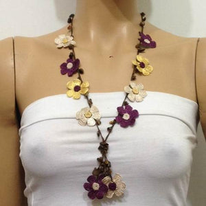 Plum Beige Yellow Tied Necklace with Tiger Eye semi-precious Stones