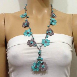 Aqua Green and Grey Tied Necklace with semi-precious Turquoise Stones