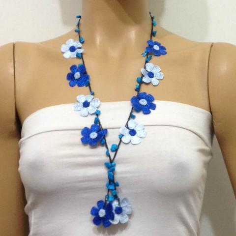 Indigo Blue and Ice Blue Tied Necklace with semi-precious Stones