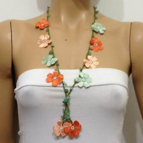 Burnt Orange green salmon Tied Necklace with semi-precious Jade Stones