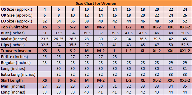 DGCouture Size Chart