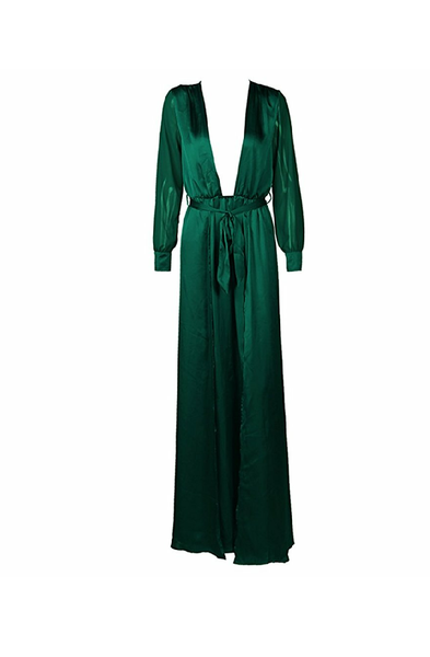 Gaia Elegant V Neck Satin Chiffon Sleeve Maxi High Split Dress