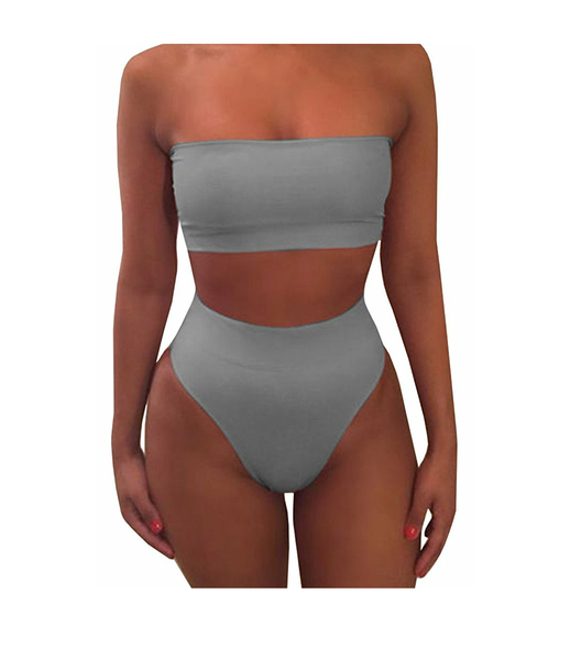 high side gray two piece swimsuit-DGCouture