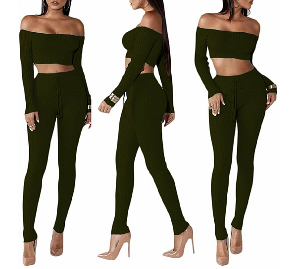 Cherisse Off Shoulder Crop Pant Set