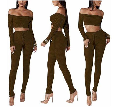 Cherisse Off Shoulder Crop Pant Set - DGCouture™