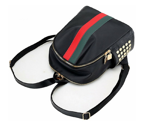 Oxford Inspired Double Zipper Striped Mini Backpack