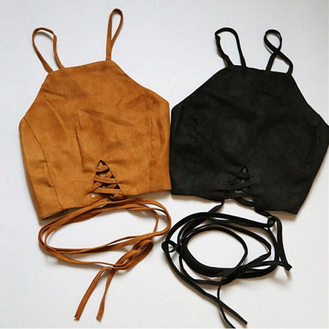 Boho Strappy Suede Crop Top - DGCouture™