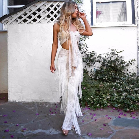 Passion Two Piece Strapless Tassel Fringe Set