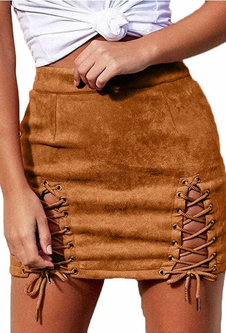 Dahli Suede Lace Up Midi Skirt - DGCouture™