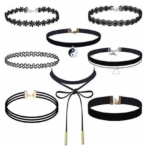 8 Pcs Choker Necklace Set
