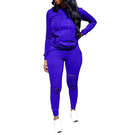 Sporty Girl Distressed Two Piece Sport Suit - DGCouture™