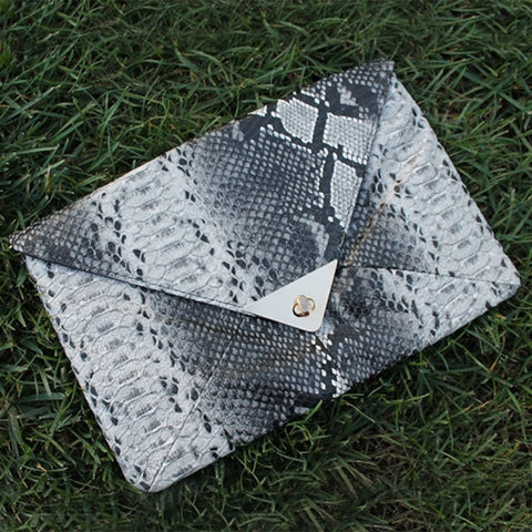 Aleise Elegant Retro Snakeskin Envelope Clutch Purse - DGCouture - 1